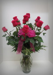 Hot Pink Roses from Lesher's Flowers, local St. Louis Florist since 1973