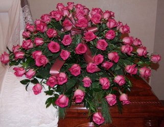 Pink Rose Casket Spray from Lesher's Flowers, local St. Louis Florist since 1973