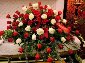 Red and White Rose Casket Spray from Lesher's Flowers, local St. Louis Florist since 1973