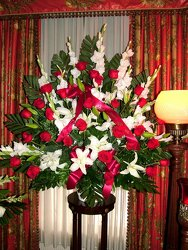 Red and White Remembrance from Lesher's Flowers, local St. Louis Florist since 1973