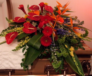 Tropical Expression Casket Spray from Lesher's Flowers, local St. Louis Florist since 1973