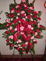 Red and Pink Remembrance from Lesher's Flowers, local St. Louis Florist since 1973