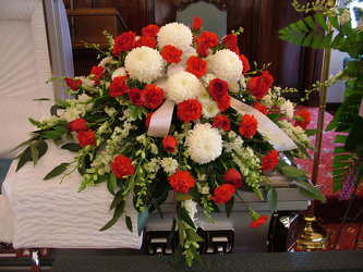 Red and White Casket Spray from Lesher's Flowers, local St. Louis Florist since 1973