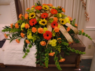 Autumn Abundance Casket Spray from Lesher's Flowers, local St. Louis Florist since 1973