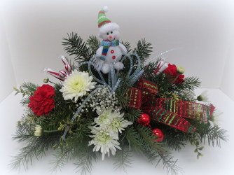 Happy Snowman from Lesher's Flowers, local St. Louis Florist since 1973