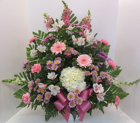Pink and Lavender Tribute from Lesher's Flowers, local St. Louis Florist since 1973