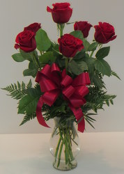 Six Rose Vase from Lesher's Flowers, local St. Louis Florist since 1973