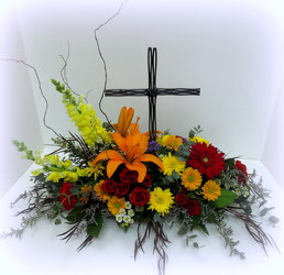 Steel Cross from Lesher's Flowers, local St. Louis Florist since 1973