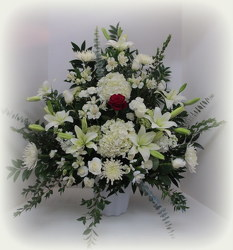 Sacred Heart Arrangement from Lesher's Flowers, local St. Louis Florist since 1973