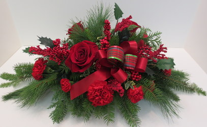 Berry Merry Centerpiece from Lesher's Flowers, local St. Louis Florist since 1973