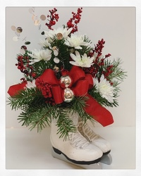 Festive Figure Skates from Lesher's Flowers, local St. Louis Florist since 1973