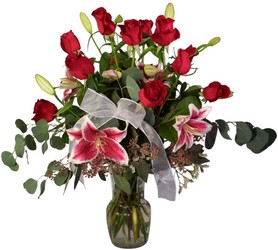 Lovely Lillies and Roses from Lesher's Flowers, local St. Louis Florist since 1973