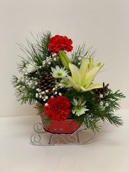 Holly Jolly Sleigh from Lesher's Flowers, local St. Louis Florist since 1973
